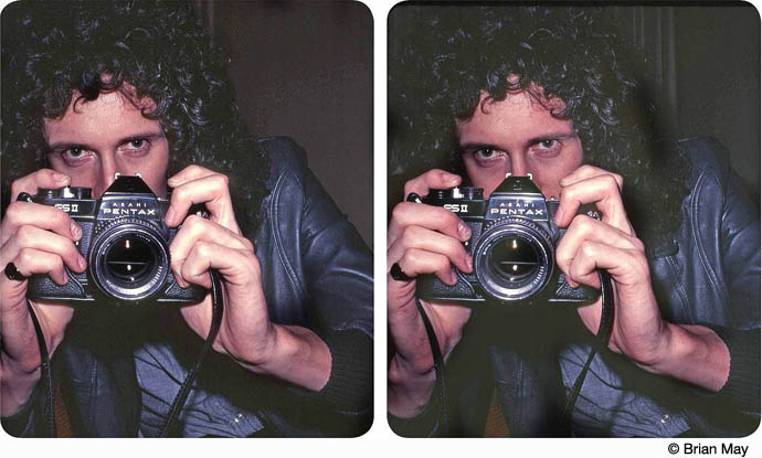 Brian May taking a photo with his Pentax