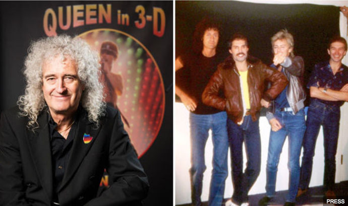 Bri with Queen in 3-D background + bandmates