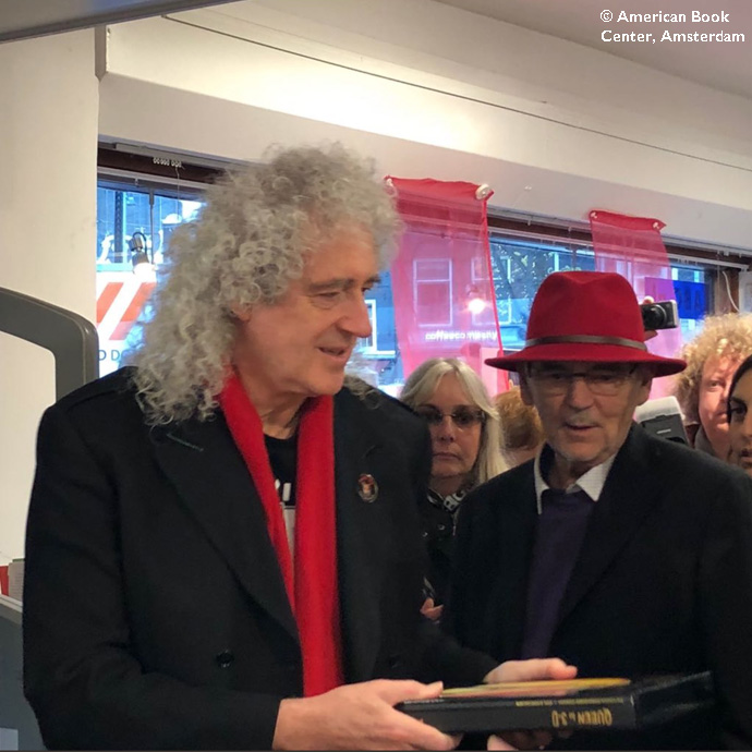 Brian May and Jim Beach American Book Center, Amsterdam