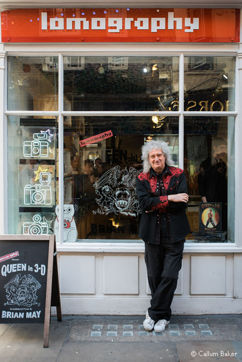 Brian May outside Lomography store