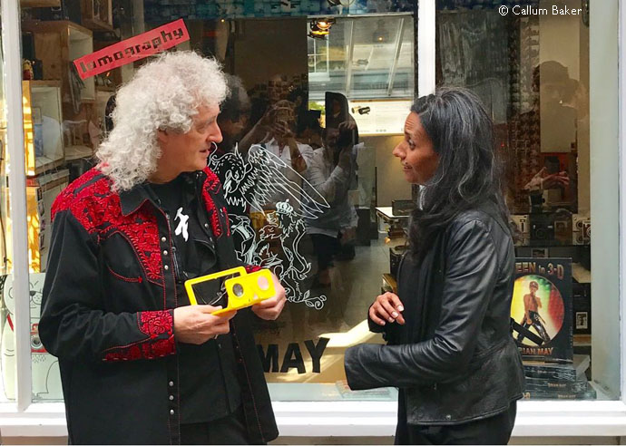 Brian May and Lomography founder, Sally Bibaw